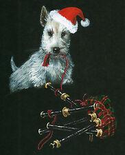 5x7 PRINT OF PAINTING SCOTTISH TERRIER SCOTTIE RYTA XMAS SANTA GIFT FOLK ART DOG