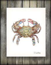 Blue Crab Watercolor Art Print by Dan Morris, Option to Mount, Pick size