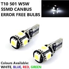 2 X T10 501 W5W 5SMD LED Canbus Xenon Luz Lateral/Interior HID actualización Blanco Azul