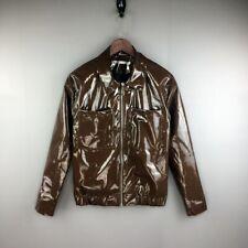 Nightclub Men's Patent Leather Jacket Pocket Lapel Bling Slim Fit Outwear Sexy
