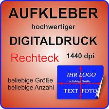 4 Stück Werbe Aufkleber RECHTECK mit Ihrem Logo auf GLANZ TRANSPARENT Permanent