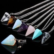 Crystal Gemstone Quartz Pendulum Healing Dowsing Reiki Chakra Pendant Chains