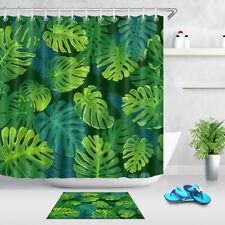 Tropical Palm & Monstera Leaves Waterproof Fabric Shower Curtain Bathroom Mat