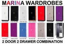 Marina High Gloss Combi Wardrobe 2 Door 2 Drawer - Childrens Bedroom Furniture
