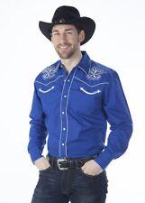 Mens Blue Western Cowboy Shirt Rockabilly Embroidered Classic Retro Star