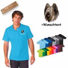 Camiseta Polo Algodón Bordado Perro bordado Briard + Texto personalizado