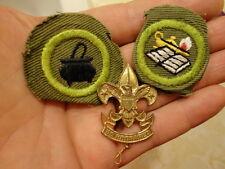 Vintage BSA First Class Pin 1911 Patent & 2 Merit Badges