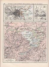 1897 VICTORIAN MAP ~ ENVIRONS OF DUBLIN KILLARNEY LAKE DISTRICT CORK TO BLARNEY