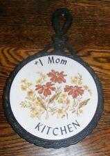 Vintage #1 MOM Kitchen Trivet Flowers Brown Yellow Green Black