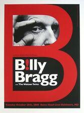 BILLY BRAGG BALTIMORE 08 SILKSCREEN GIG POSTER 90 MADE