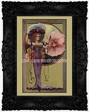 ART NOUVEAU VICTORIAN Pansy FAIRY with Mirror Fashion Romantic Antique ART PRINT