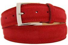 Italienischer Wildledergürtel Herren Damen Suede Belt Rot 4cm Breit