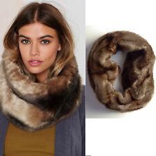 Calvin Klein Brown Faux Fur Infinity Scarf