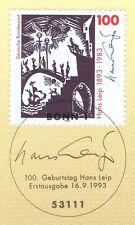 BRD 1993: Hans Leip Nr 1694 mit Ersttagssonderstempel!