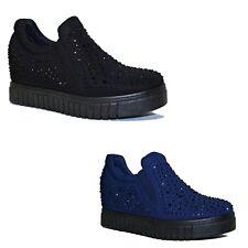 SCARPE Donna Sneakers Slip on Strass Rialzo INTERNO 7 cm Zeppa Mocassini C23 e438dd60e68