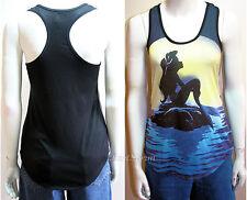 Disney Little Mermaid ARIEL on Rock Sunset Moon Sun Muscle Tank Top Shirt XS S