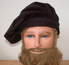 Renaissance Hat Solid Black, Black Brim, Black Trim