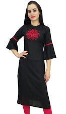 Bimba Women's Black Embroidered Kurti Tunic Designer Ethnic Indian Kurta
