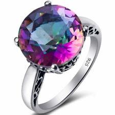 Fancy Rainbow Topaz Gemstone 925 Silver Ring Women Proposal Engagement