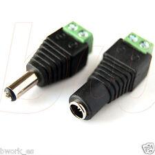 Conectores alimentación MACHO y HEMBRA jack 2.1x5.5mm DC CCTV LED ARDUINO