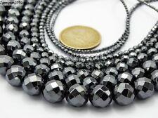 Black Hematite Gemstone Faceted Round Beads 15.5'' 2mm 3mm 4mm 6mm 8mm 10mm 12mm