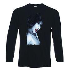 VAMPIRE GIRL LONG SLEEVE T-SHIRT - Gothic Goth  Vampires Fangs Tattoo - S-XXL