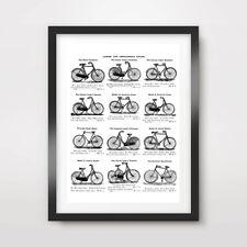 Cuadro De Bicicleta Ilustración Impresión de Arte Poster Vintage Diagrama Negro Blanco Pulgadas