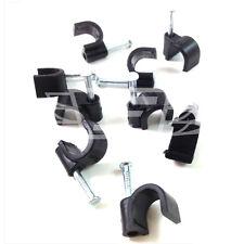 BLACK 12.0 mm Round CABLE CLIP con fissaggio chiodi, Antenna Cavo Coassiale TV SATELLITARE TELEFONO