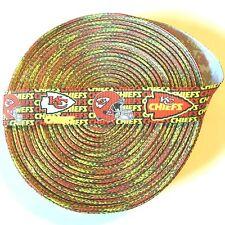 "7/8"" Kansas City Chiefs Mini Text Grosgrain Ribbon by the Yard (USA SELLER!)"