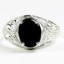 Black Onyx, Solid 925 Sterling Silver Ladies Ring-Handmade, SR083