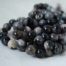 Grado A Jaspe hoja de Plata Negro Natural Gemstone redonda con cuentas - 4 mm 6 mm 8 mm 10 mm