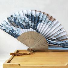 Hand Fan Fuji Kanagawa Waves Japanese Folding Fan Pocket Fan Party Decoration Vv