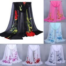 Fashion Women Floral Chiffon Neck Scarf Long Soft Wrap Scarf Shawl Stole Scarves