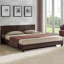 CORIUM® sommier tapissier moderne 140x200cm marron foncé double lit similicuir