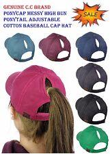 NEW! C.C Ponycap Messy High Bun Ponytail Adjustable Cotton Baseball CC Cap Hat