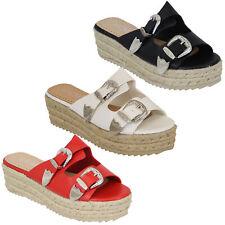 Ladies Platform Mule Sandals Womens Rope Line Strap Buckle Wedge Shoes Summer
