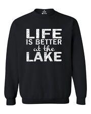 Life is Better at the Lake Crewnecks Camping Hiking Outdoor Sweatshirts