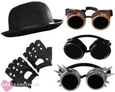 3 PIECE STEAMPUNK FANCY DRESS SET GOGGLES, HAT + GLOVES VICTORIAN SCI-FI COSTUME