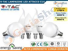 LAMPADINA LED V-TAC E14 DA 3W A 6W MINIGLOBO CANDELA FIAMMA 2700°K 4500°K 6000°K