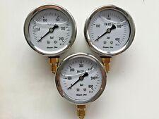 Manometer mit Glycerinfüllung Ø63 mm Edelstahl für Hydraulik, Kompressoren