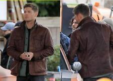 Men's Supernatural Season 7 Real Genuine Leather Jacket/Coat in Brown