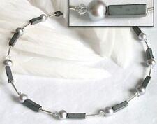 Edelstahl Halskette Collier Swarovski Hämatit grau Süßwasser Perlen weiß Damen