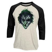 Official Batman Joker Art Face Baseball Shirt DC Comics 3/4 sleeve S M L XL