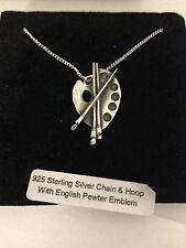 Artistas Paleta R109 emblema en un collar de plata esterlina 925 16,18,20,26,30