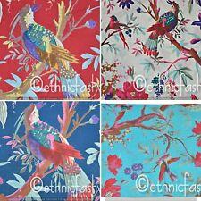 Indian Fabric Cotton Bird Screen Print Natural Handmade Jaipuri craft Animal