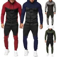 2PCS Men Tracksuit Jacket Pant Casual Sport Jogging Athletic Trainer Suit Outfit