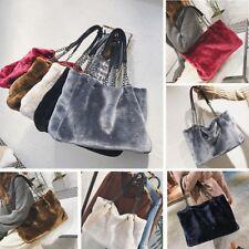 Women Winter Velvet Large Faux Fur Handbag Single Shoulder Bags Tote Bag Satchel