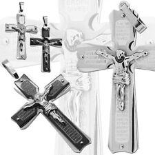 Pendentif Croix Crucifix Jésus Acier Argent Noir Chaînes Colliers Homme