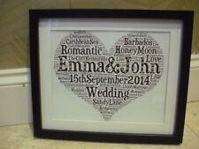 LUXURY WEDDING WORD ART PICTURE BOX FRAME AND MOUNT diamontes