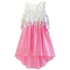 Girls Dress Sequined Hi-lo Chiffon Beach Party Sundress Size 6-14 US Seller